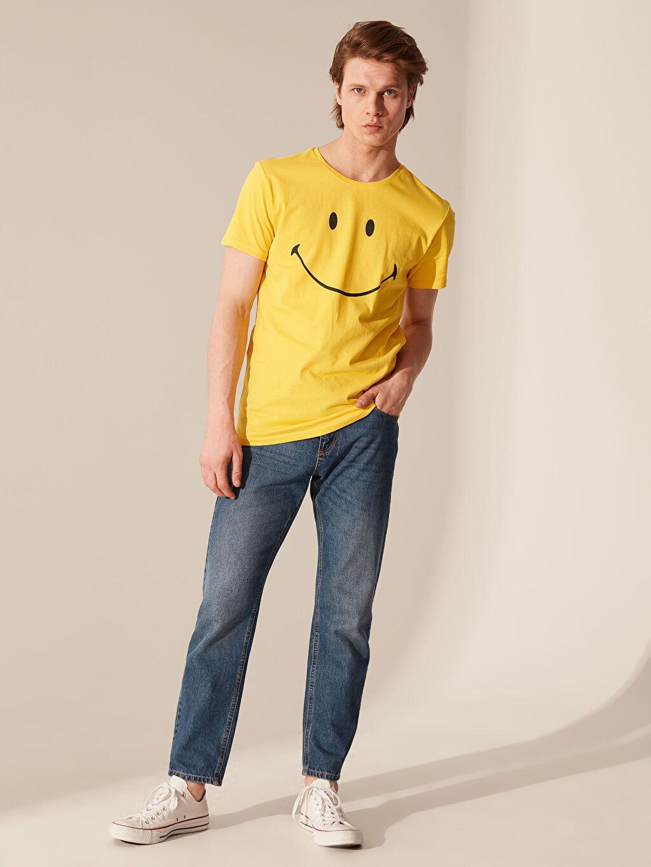 %100 Pamuk Smiley Bisiklet Yaka Penye Tişört