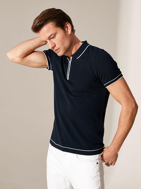 %100 Pamuk Dar Düz Kısa Kol Tişört Polo Polo Yaka İnce Triko Tişört