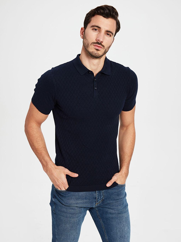 %100 Pamuk Düz Kısa Kol Tişört Polo Dar Polo Yaka Dokulu Basic Tişört