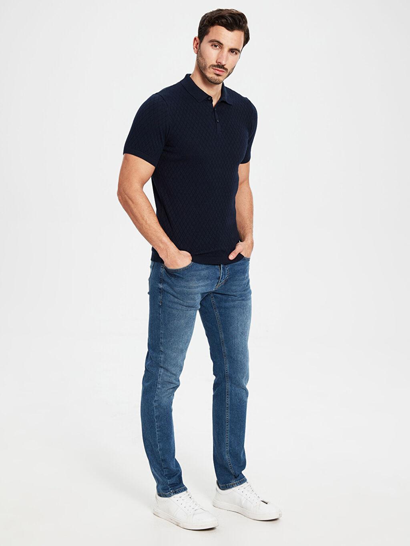 %100 Pamuk Polo Yaka Dokulu Basic Tişört