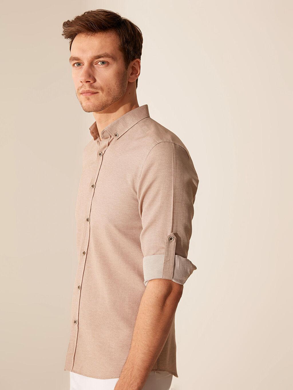 %64 Pamuk %36 Polyester Dar Düz Uzun Kol Gömlek Düğmeli Slim Fit Armürlü Gömlek