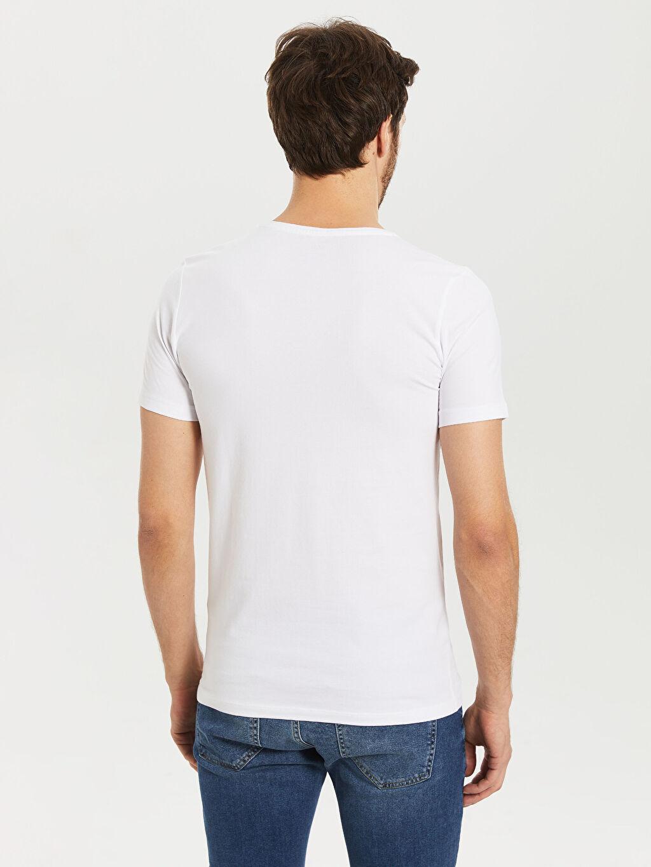 Erkek Düz Dar Kısa Kollu V yaka Tişört