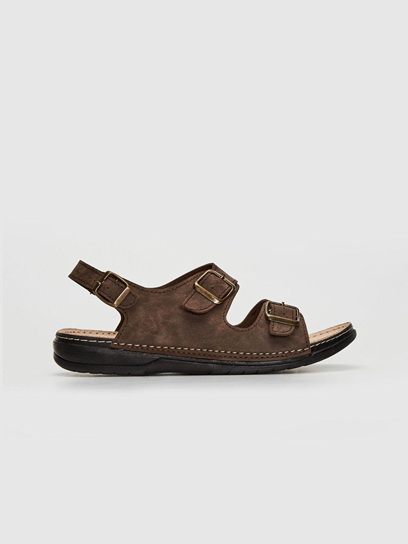 Kahverengi Erkek Çift Bantlı Tokalı Sandalet 0SO030Z8 LC Waikiki
