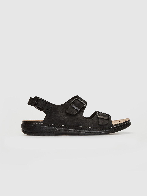 Siyah Erkek Çift Bantlı Tokalı Sandalet 0SO030Z8 LC Waikiki