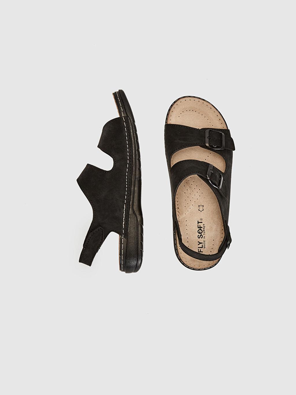 Diğer malzeme (poliüretan)  Erkek Çift Bantlı Tokalı Sandalet