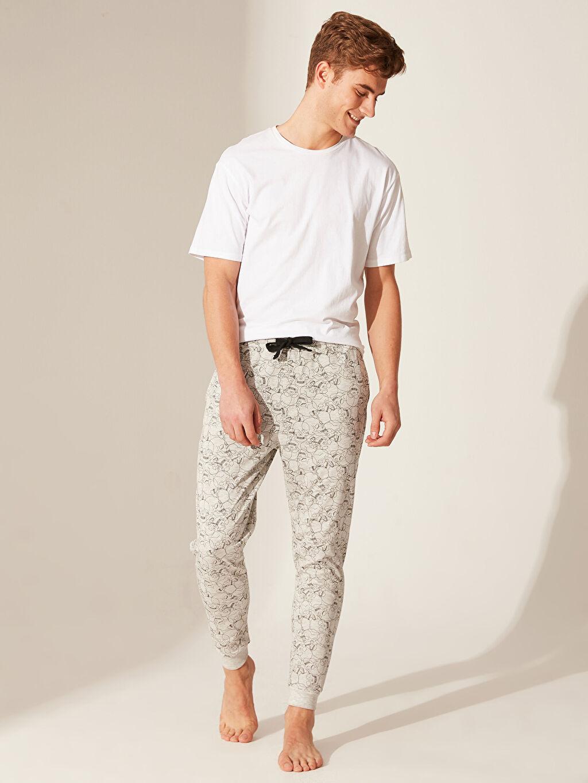 %50 Pamuk %50 Polyester Standart Pijamalar Standart Kalıp Desenli Pijama Altı