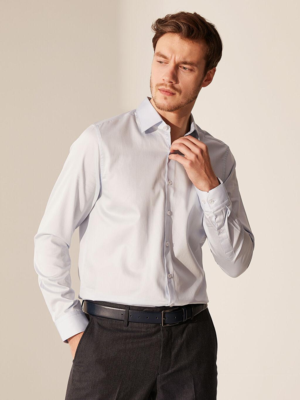 %100 Pamuk Dar Düz Uzun Kol Gömlek Düğmesiz Slim Fit Pamuklu Gömlek