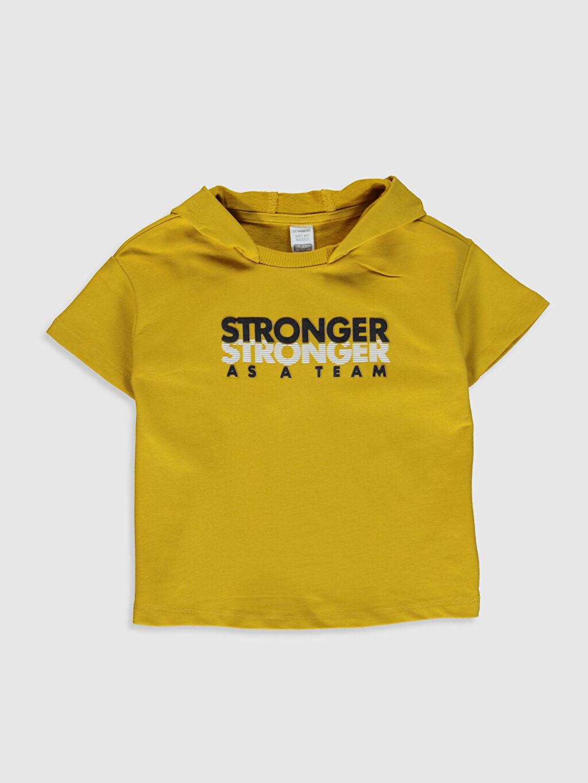 Sarı Erkek Bebek Slogan Yazı Baskılı Sweatshirt 0SO571Z1 LC Waikiki