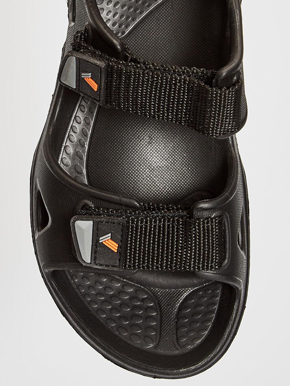LC Waikiki Siyah Erkek Çift Bantlı Cırt Cırtlı Sandalet