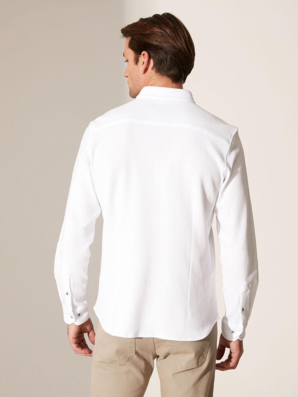 %100 Pamuk Slim Fit Armürlü Gömlek