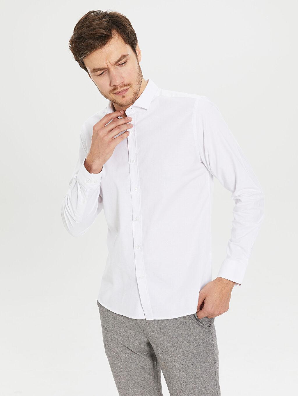 %68 Pamuk %28 Polyester %4 Elastan Dar Düz Uzun Kol Gömlek Düğmesiz Slim Fit Oxford Gömlek