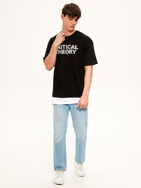 LC Waikiki Siyah Oversize Baskılı Penye Tişört
