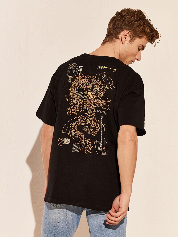 Siyah Oversize Baskılı Penye Tişört 0SB244Z8 LC Waikiki