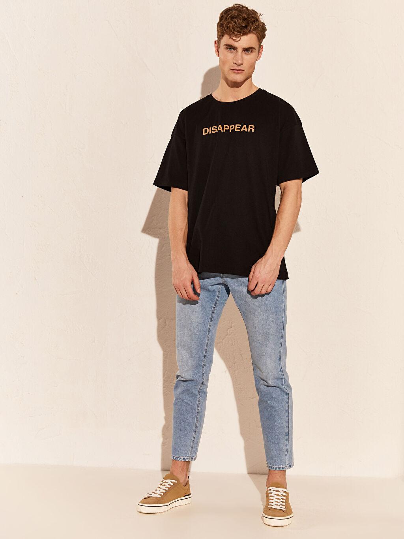 Siyah Oversize Baskılı Penye Tişört