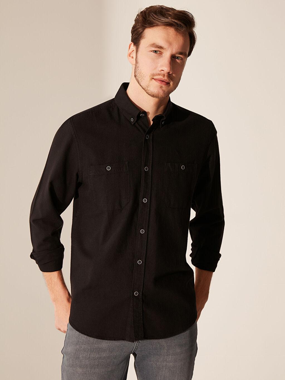 Siyah Regular Fit Gabardin Gömlek 0SB245Z8 LC Waikiki