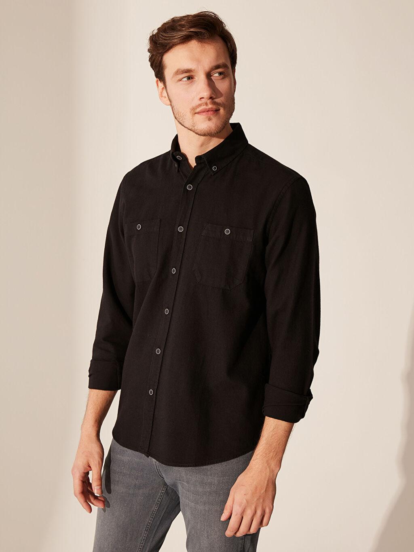%100 Pamuk Normal Düz Uzun Kol Gömlek Düğmeli Regular Fit Gabardin Gömlek