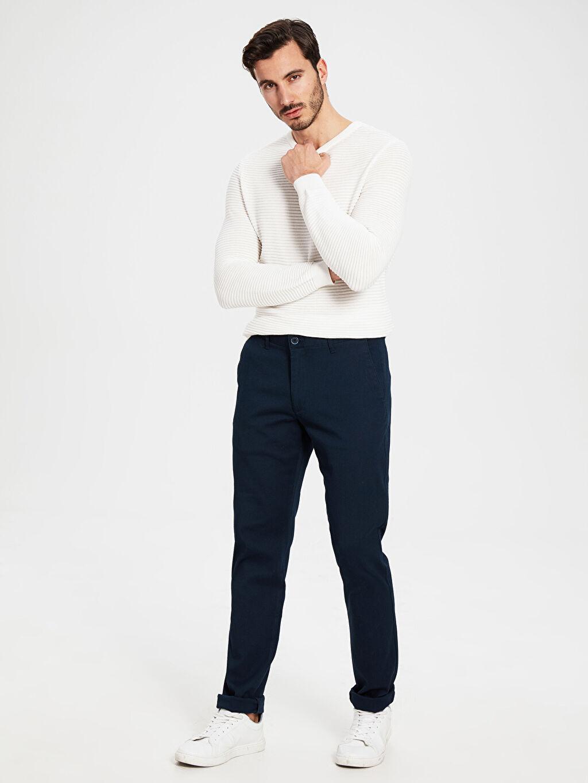 Lacivert Slim Fit Armürlü Pantolon 0SB719Z8 LC Waikiki