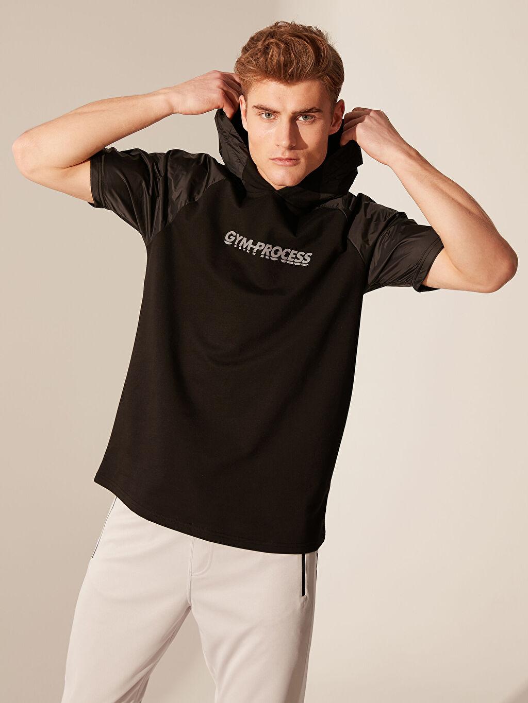 %76 Pamuk %24 Polyester  Kapüşonlu Kısa Kollu Aktif Spor Sweatshirt