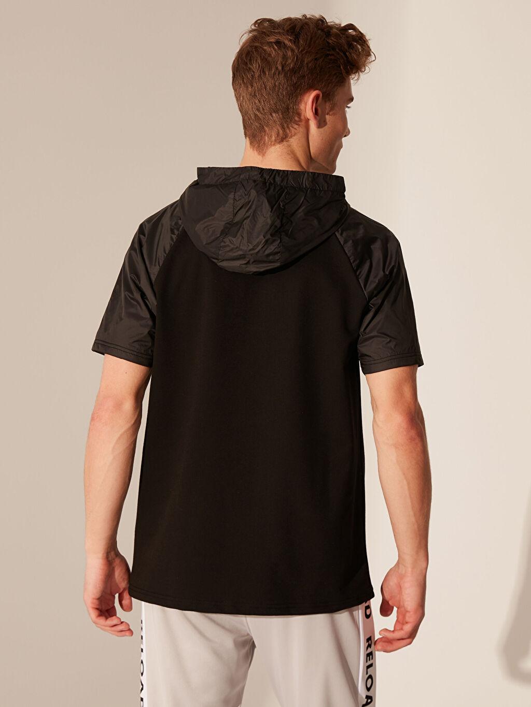 Erkek Kapüşonlu Kısa Kollu Aktif Spor Sweatshirt