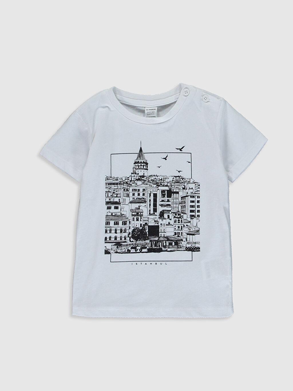 Beyaz Erkek Bebek İstanbul Temalı Pamuklu Tişört 0SC100Z1 LC Waikiki
