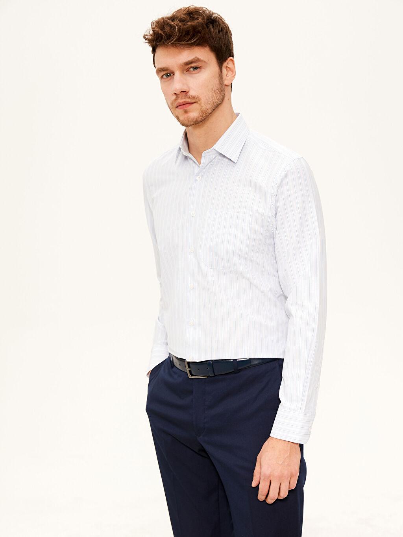 %60 Pamuk %40 Polyester Çizgili Normal Uzun Kol Gömlek Düğmesiz Regular Fit Çizgili Gömlek