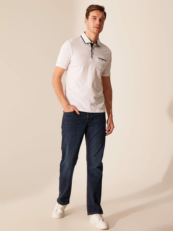 %96 Pamuk %4 Elastan Polo Yaka Şeritli Tişört