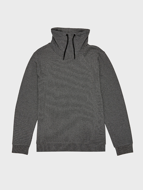 %48 Pamuk %52 Polyester Keşiş Yaka Dokulu Sweatshirt