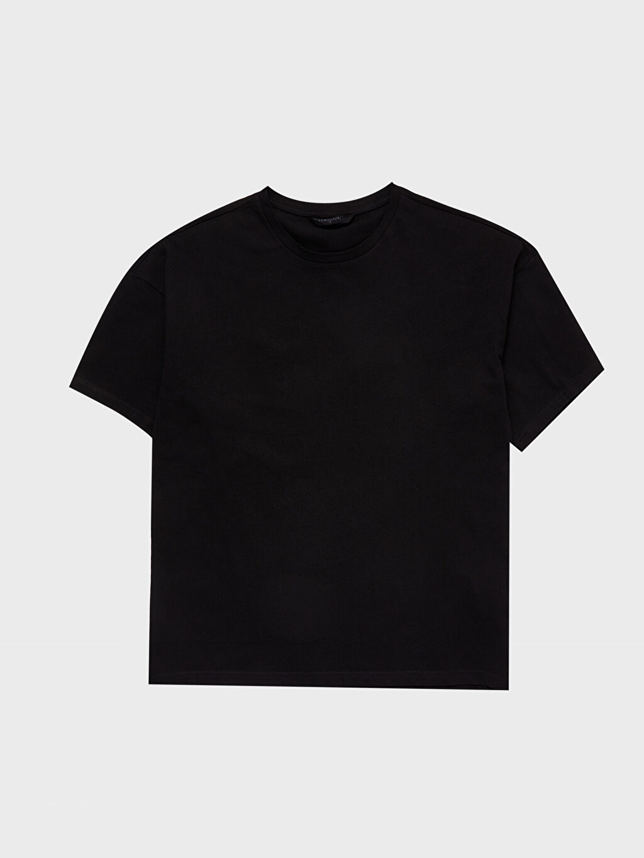 LC Waikiki Siyah Boxy Fit Basic Tişört