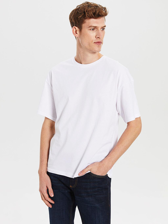 Beyaz Boxy Fit Basic Tişört 0SC585Z8 LC Waikiki