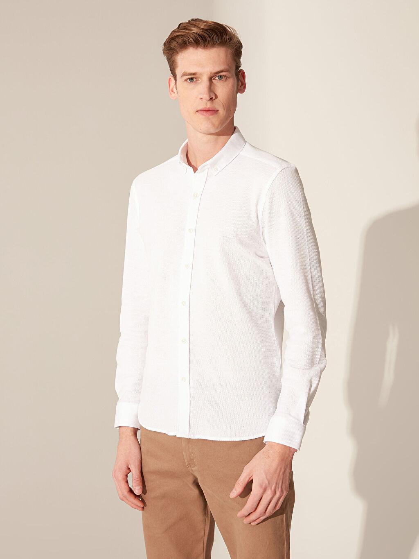 %72 Pamuk %28 Viskoz Dar Düz Uzun Kol Gömlek Düğmeli Slim Fit Basic Gömlek