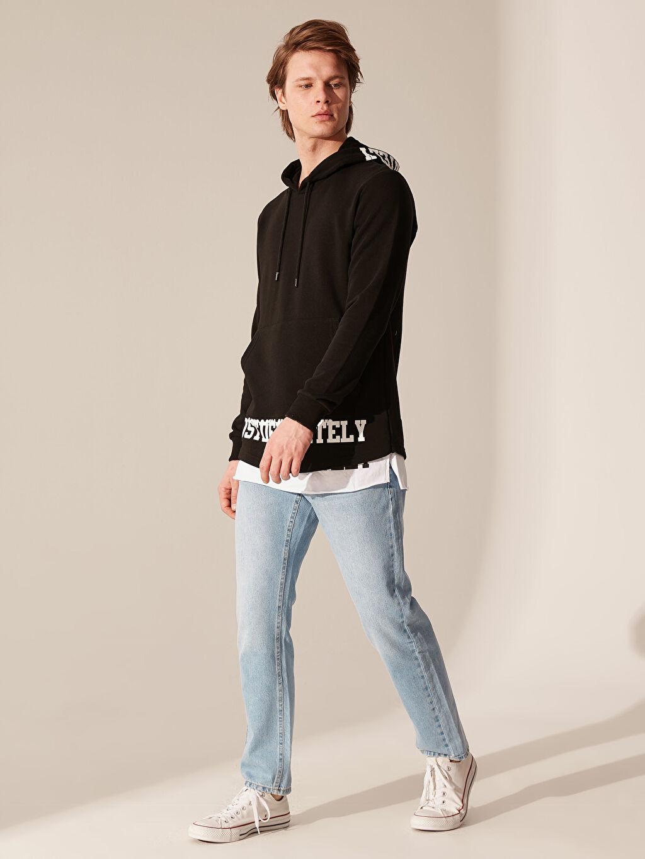 %62 Pamuk %38 Polyester Kapüşonlu Baskılı Kalın Sweatshirt