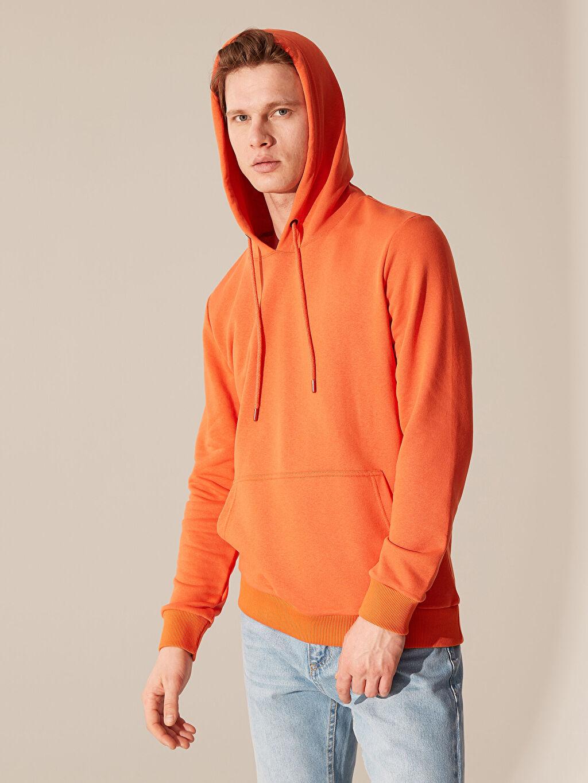 Turuncu Kapüşonlu Basic Kalın Sweatshirt 0SD365Z8 LC Waikiki