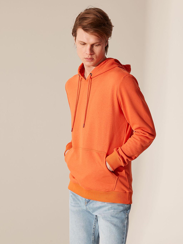 %67 Pamuk %33 Polyester  Kapüşonlu Basic Kalın Sweatshirt