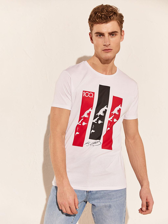 %100 Pamuk Baskılı Standart Bisiklet Yaka Kısa Kol Tişört Atatürk Baskılı Pamuklu Tişört