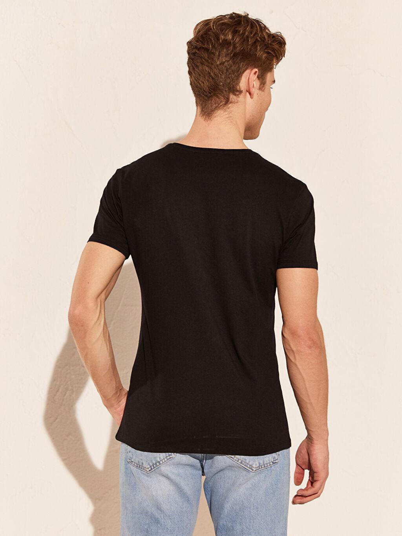 %100 Pamuk Bisiklet Yaka Baskılı Basic Tişört