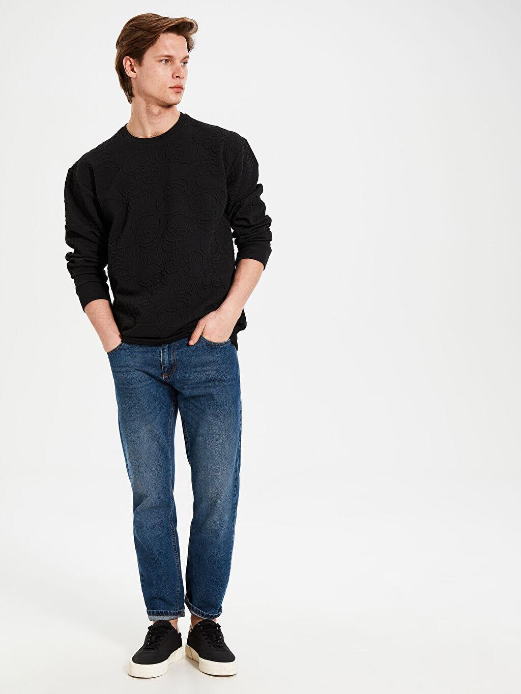 %85 Polyester %13 Viskoz %2 Elastan Bisiklet Yaka Basic Sweatshirt