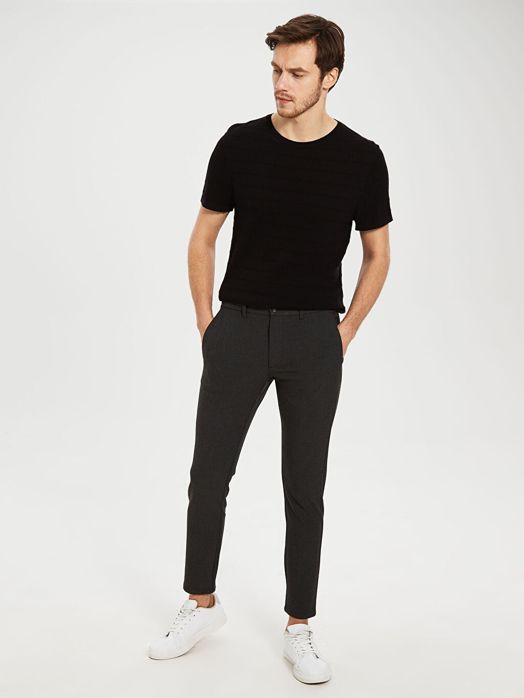 %32 Poliester %64 Vıscose %4 Elastane Dar Normal Bel Pilesiz Pantolon Slim Fit Bilek Boy Pantolon
