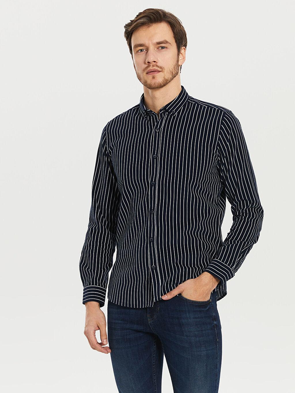 Lacivert Çizgili Dar Uzun Kollu Gömlek 0SE900Z8 LC Waikiki