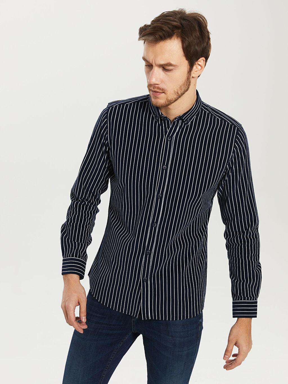 %100 Pamuk Dar Çizgili Uzun Kol Gömlek Düğmeli Çizgili Dar Uzun Kollu Gömlek