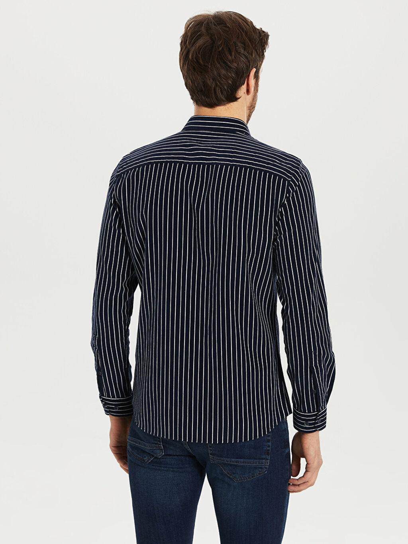 Erkek Çizgili Dar Uzun Kollu Gömlek