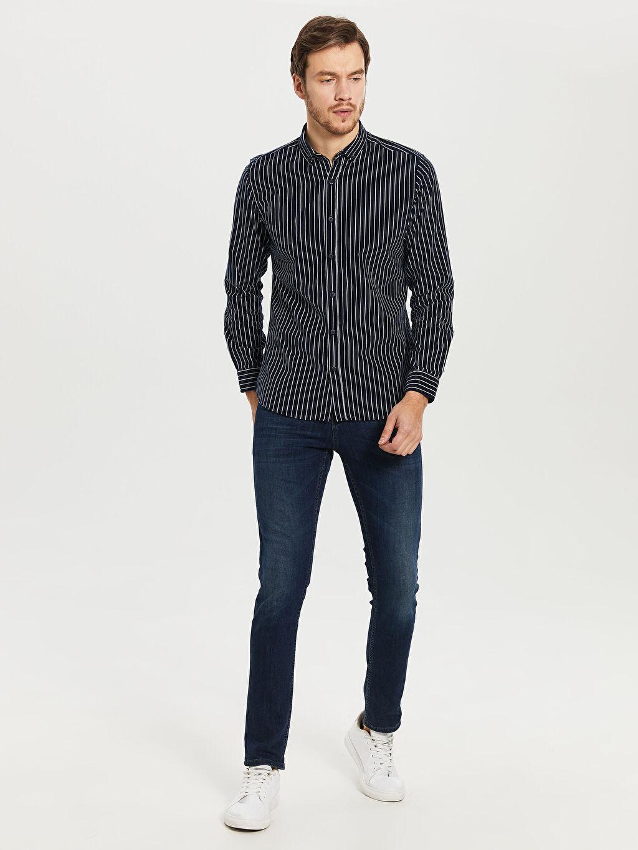 %100 Pamuk Çizgili Dar Uzun Kollu Gömlek