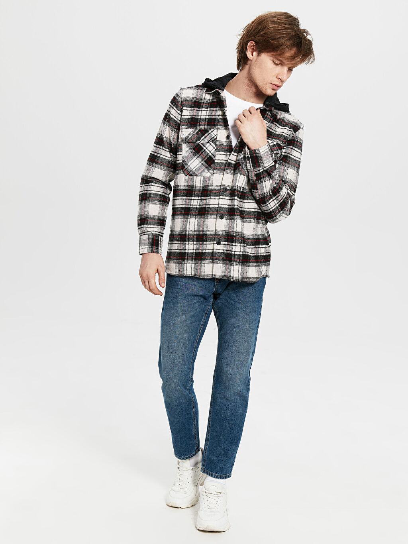 Erkek Regular Fit Kapüşonlu Yünlü Oduncu Gömlek