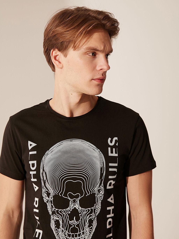 Erkek Bisiklet Yaka Baskılı Tişört