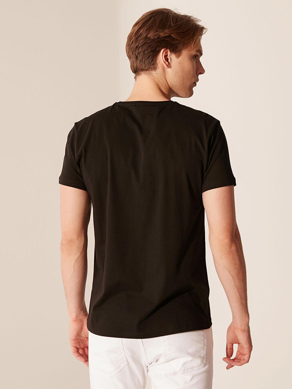 %100 Pamuk Bisiklet Yaka Baskılı Tişört