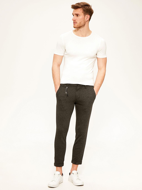 Antrasit Slim Fit Poliviskon Pantolon 0SP035Z8 LC Waikiki
