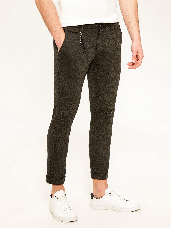 Dar Normal Bel Pilesiz Pantolon Slim Fit Poliviskon Pantolon