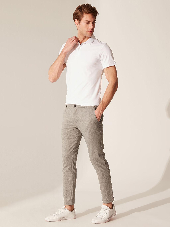 %64 Polyester %2 Elastan %34 Viskon Dar Normal Bel Pilesiz Pantolon Slim Fit Esnek Viskon Pantolon