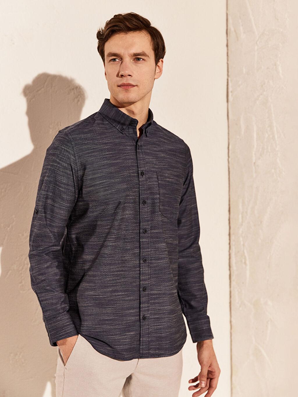 %100 Pamuk Normal Uzun Kol Düz Gömlek Düğmeli Regular Fit Kırçıllı Gömlek