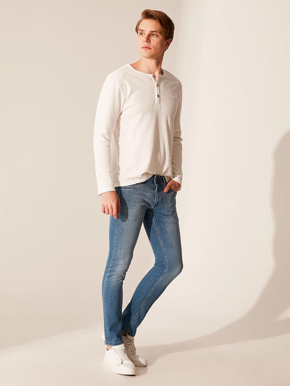 %98 Pamuk %2 Elastan Dar Normal Bel Jean Slim Fit Jean Pantolon