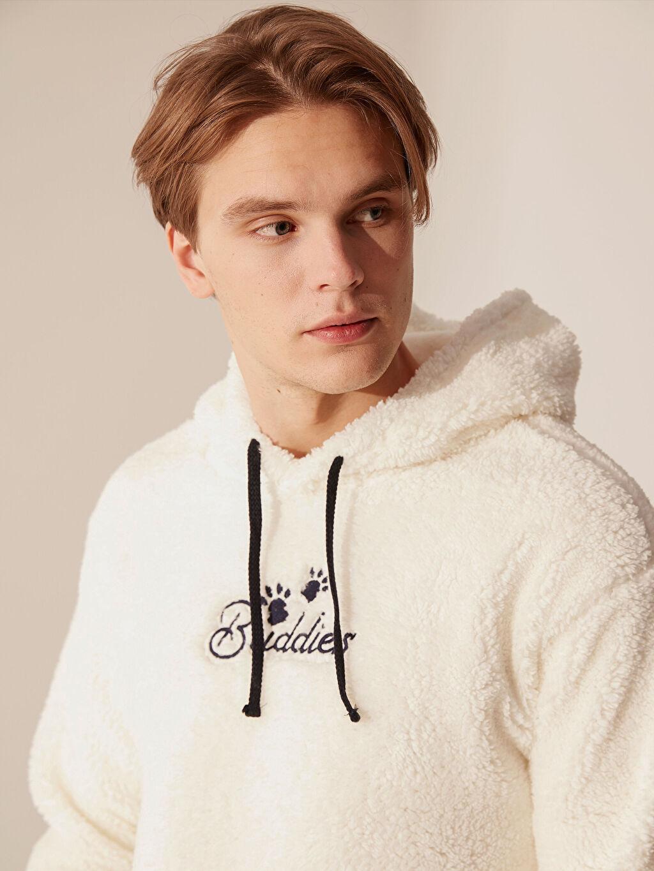 %100 Polyester  Kapüşonlu Yazı Baskılı Sweatshirt
